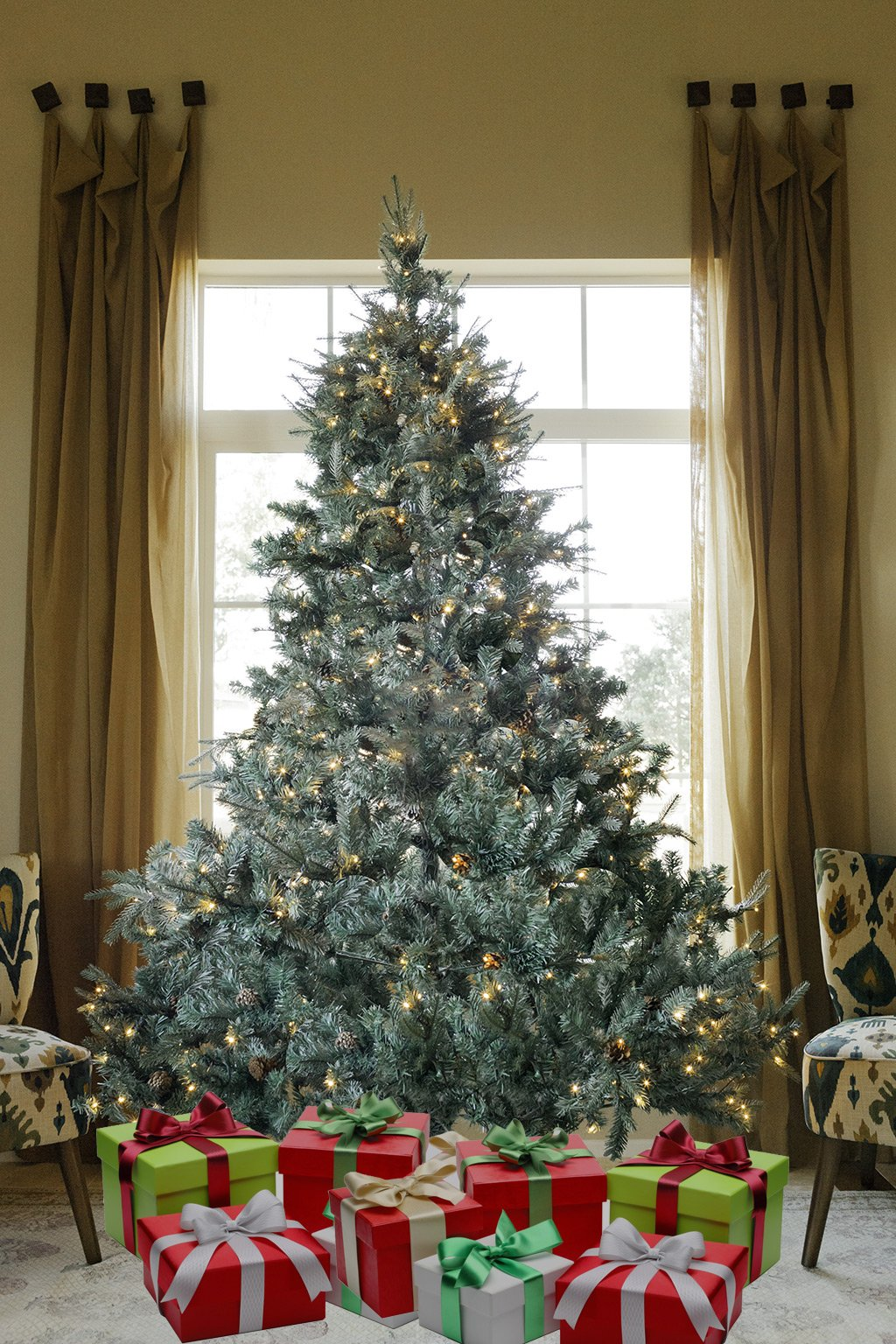 8 FT Prelit Premium Spruce Hinged Artificial Christmas Tree 1600 Realistic Branch Tips / Pines With 600 LED lights and Stand by xmasource (Image #5)