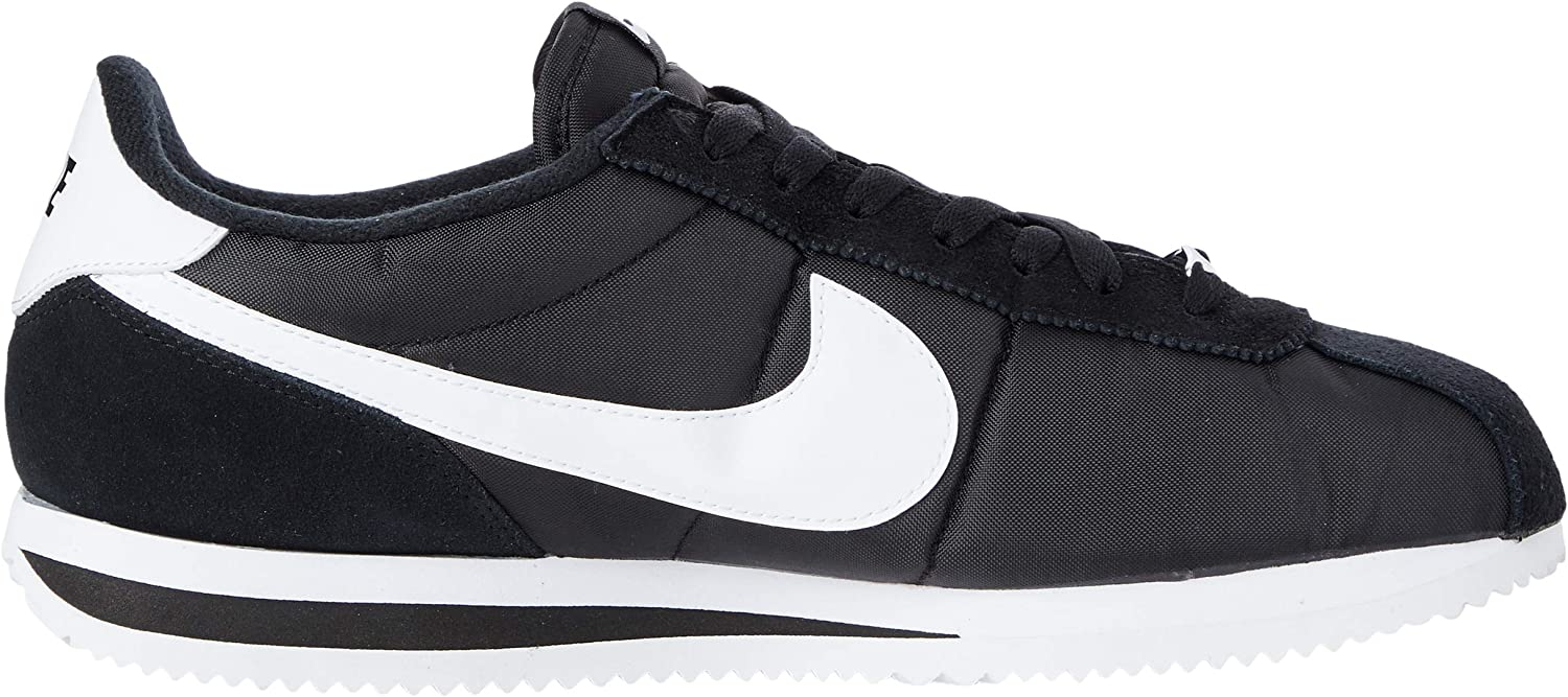 Nike Men's Classic Cortez Leather Running Shoes Black/White