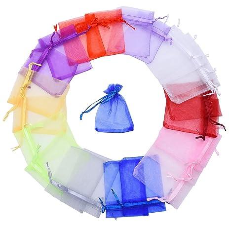 Bolsas de Organza de Regalo para Boda Favores y Joyas, 100 Piezas, Tamaño Pequeño, Colores Variados
