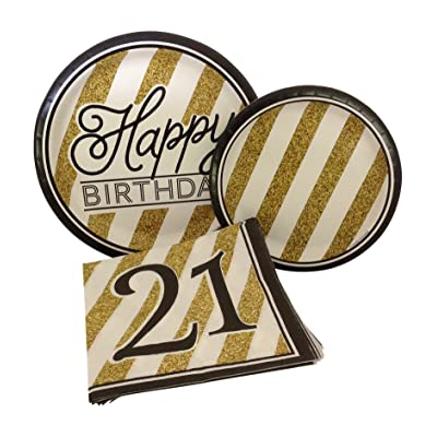 Black and Gold Happy 21st Birthday Party Bundle with Paper Plates and Napkins for 8 Guests: Health & Personal Care