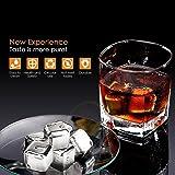SIMBR Cubi di Ghiaccio Riutilizzabili in Acciaio Inox Pietre di Ghiaccio per Whisky, 6 Pezzi, 26.8*26.8*26.3cm, con Custodia per Conservazione