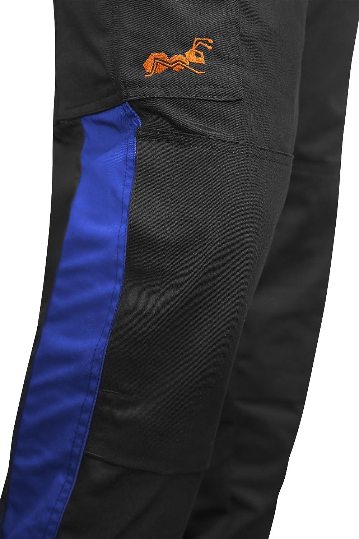 Arbeits-Latzhose f/ür M/änner mit Kniepolstertaschen Berlin Kombi-Hose Blaumann Kermen Arbeitshosen Made in EU Blau