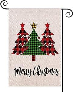 "CHICHIC Merry Christmas Garden Flag Buffalo Winter Flag Xmas Burlap House Yard Lawn Flag, Vertical Double Sized Outside Christmas Outdoor Decorations, Seasonal Home Decor, 12.5"" x 18.5"", Xmas Trees"