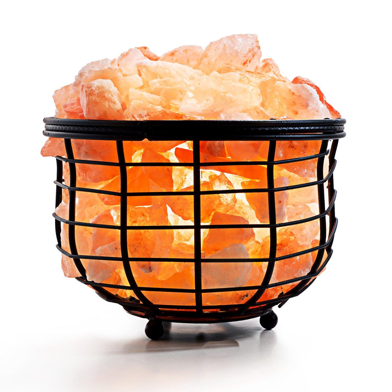 Amethya Himalayan Salt Lamp with Natural Crystal Salt Rock (Iron Basket)