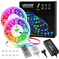 F Flashable LED Lights 10m Strips 32.8ft with AU Plug, 44 key IR remote, 5050 RGB LED Strip, 300 Flexible Color Changing…