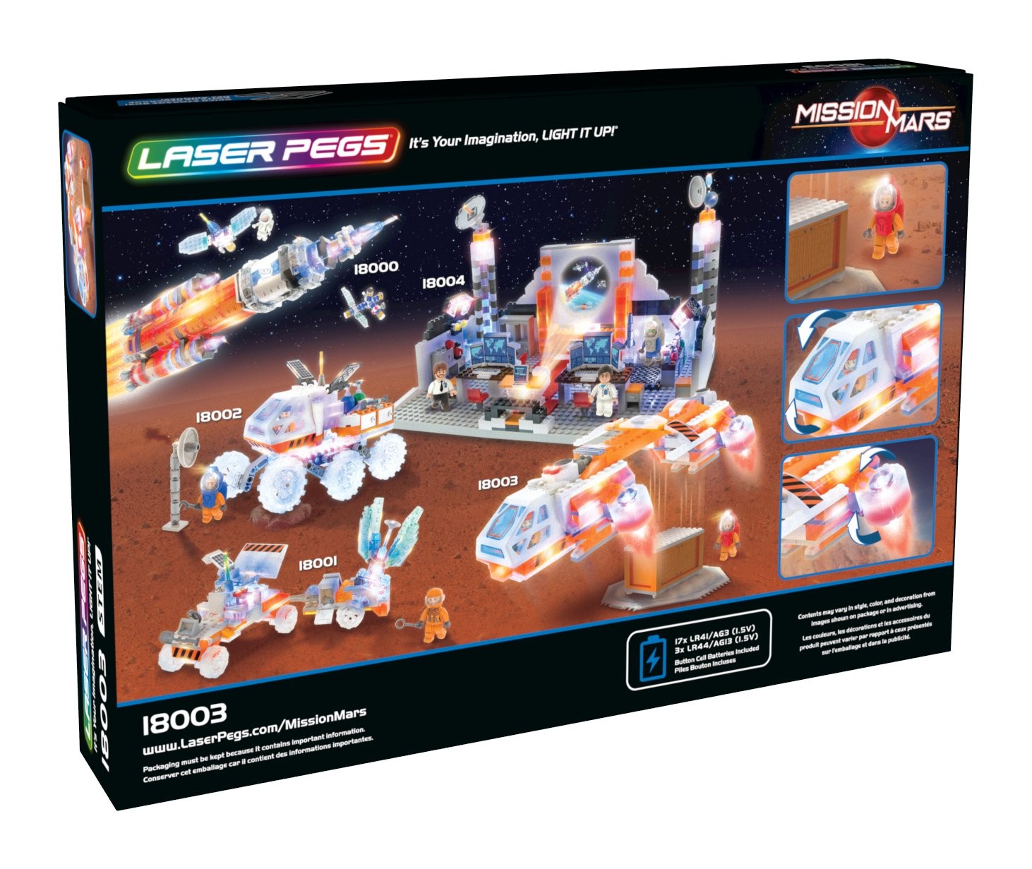Laser Pegs Mars Shuttle Building Toy 280 Pieces 18003