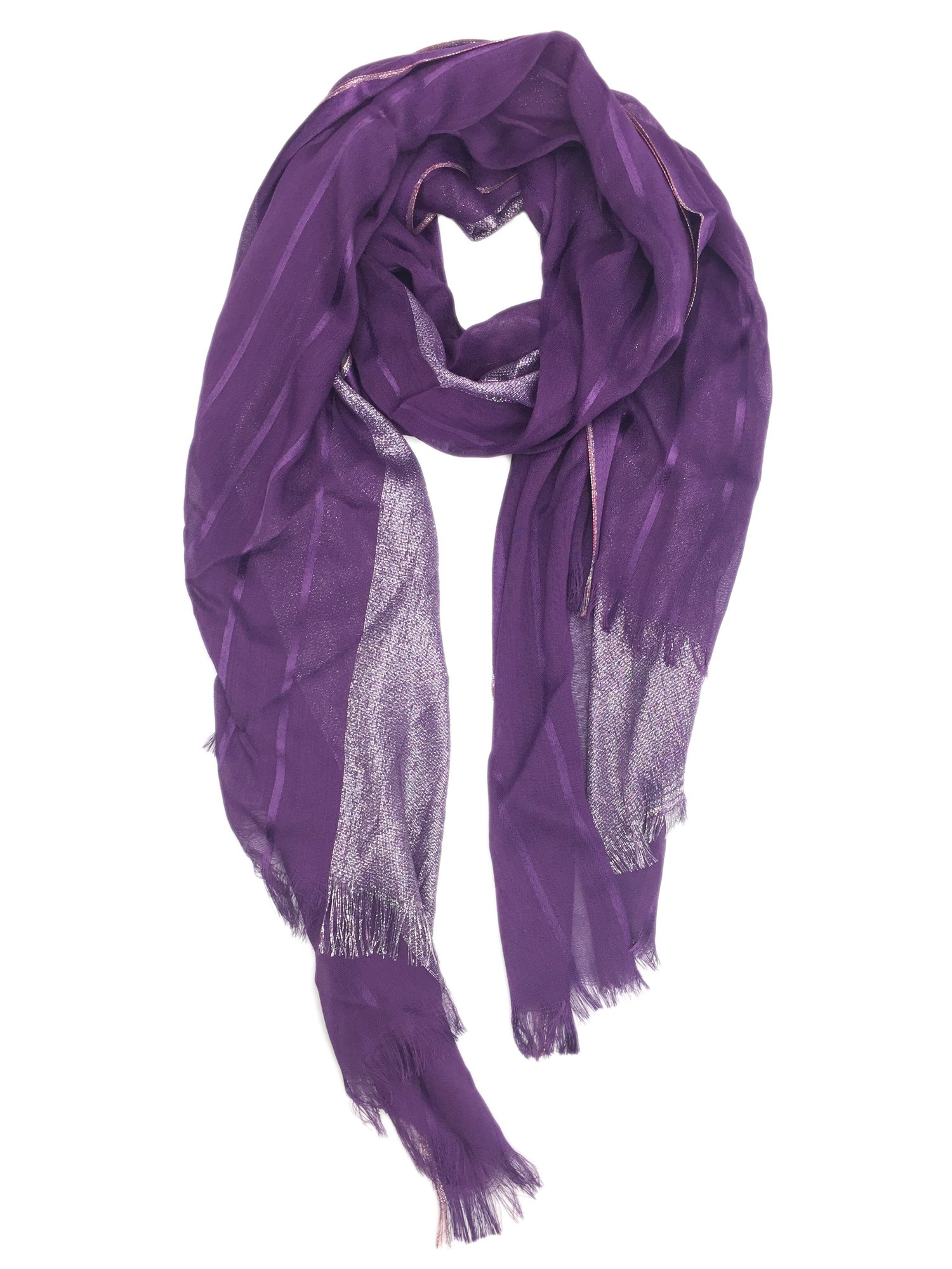 YOUR SMILE Women's Lightweight Glitter Color mixture Print Shawl Scarf For Spring Season (Purple) by YOUR SMILE (Image #1)