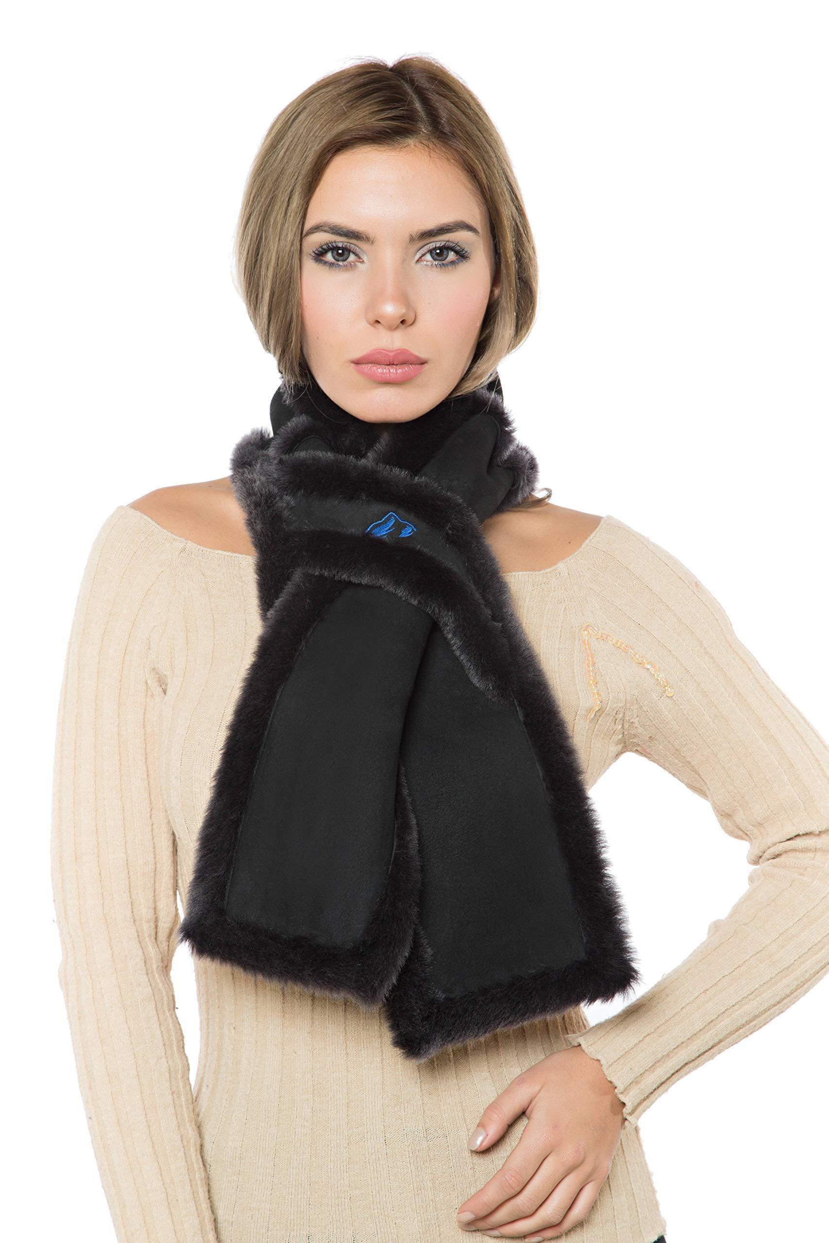 ACQUIT Women's/Men's Genuine Sheepskin Shearling Wool (not sherpa) Scarf (Charcoal)