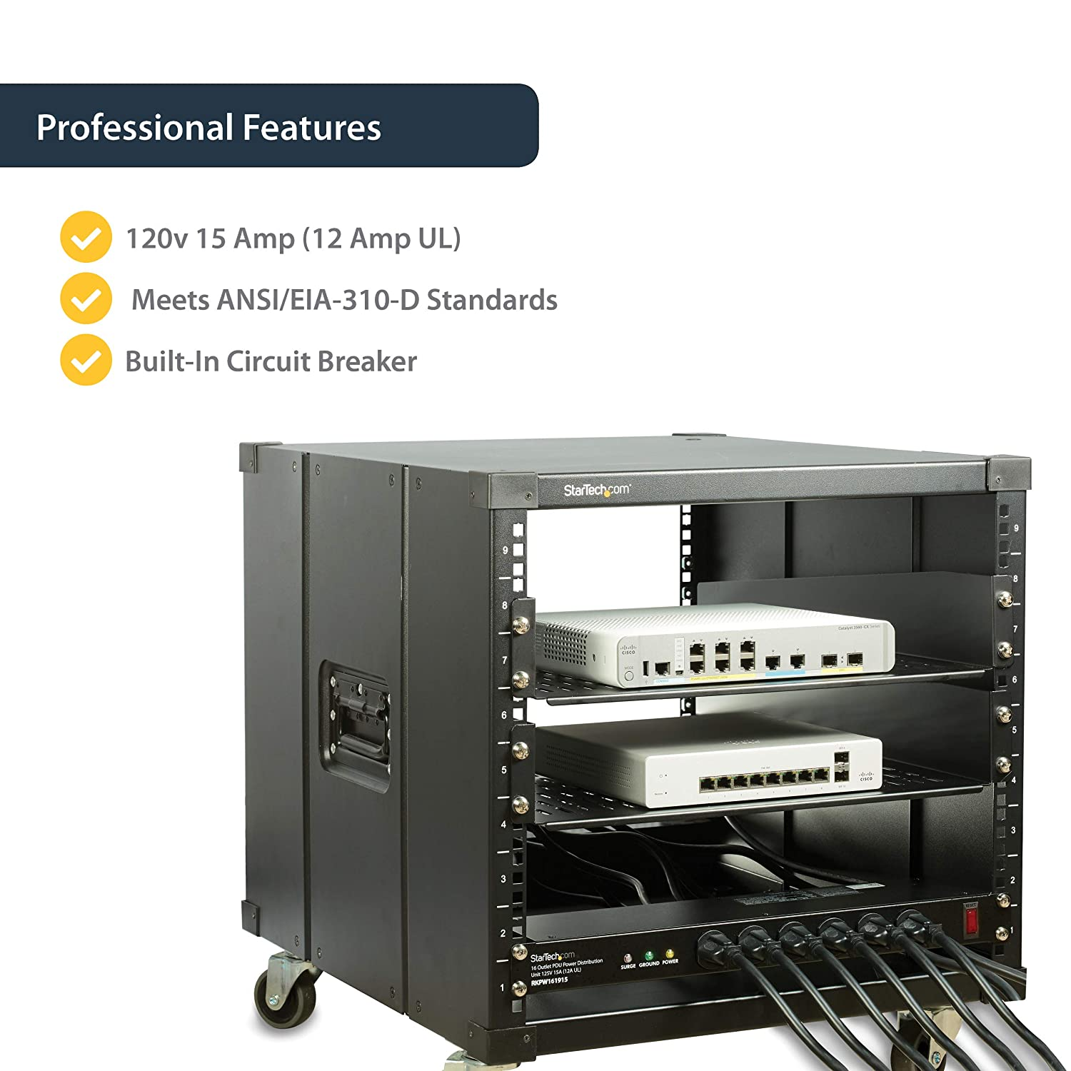 RKPW081915 19in Rackmount Power Distribution Unit 8 Outlets with Surge Protection StarTech.com 1U Horizontal Rack Mount PDU