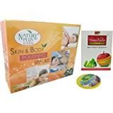 NATURE PLUS HERBAL 6 in 1 Skin and Body Polishing Spa Facial Kit with Greenveda Fruit Bleach and Large Sponge, 330g