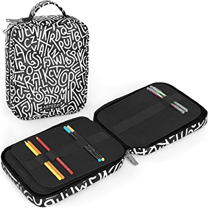 Arteza Estuche para lápices de arte | 64 ranuras elásticas | Capacidad para 205 lápices | Diseño unisex en blanco y negro | Ideal para cualquier edad | Apto para bolígrafos y rotuladores: Amazon.es: Oficina y papelería