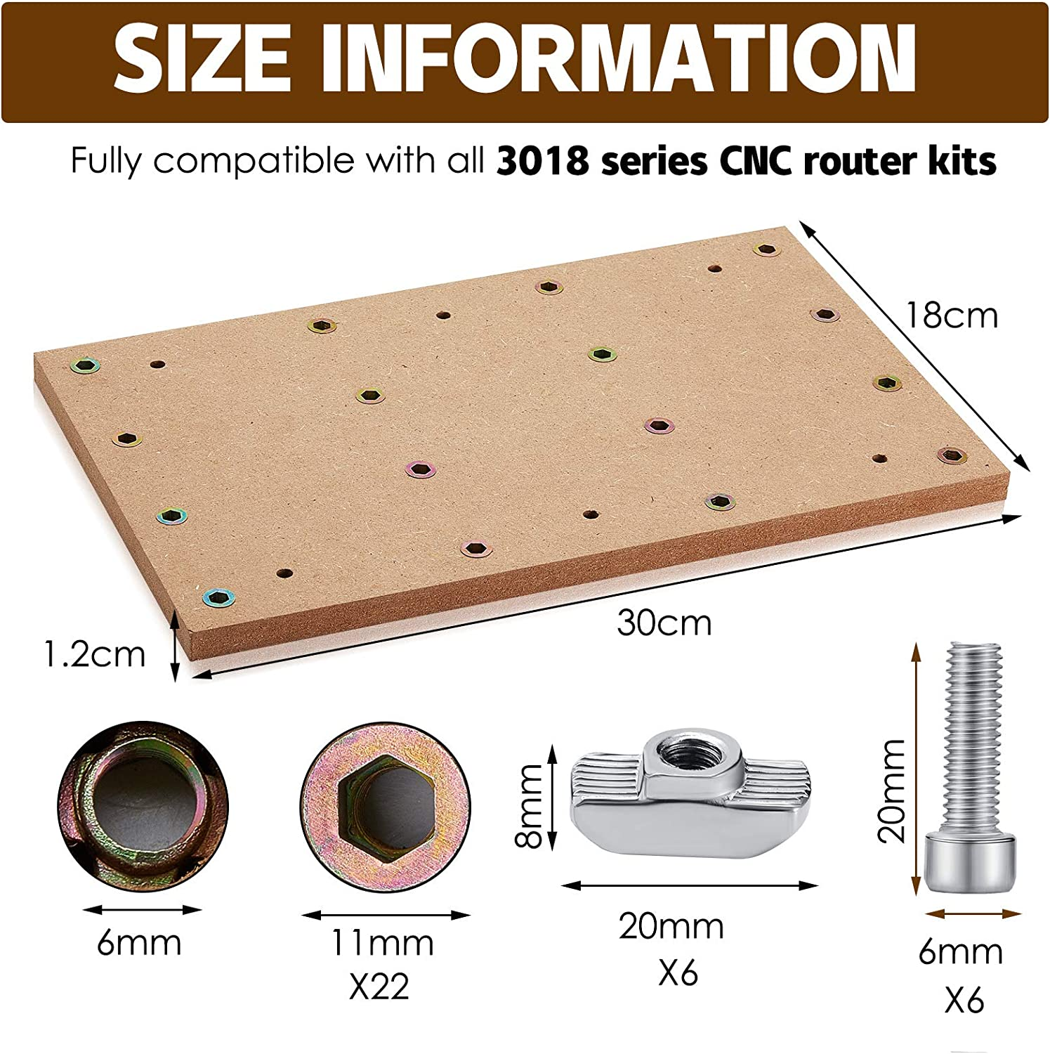 MDF Spoilboard Machine Bed Accessories Milling DIY Engraving Machine Tools Compatible for 3018 CNC Routers
