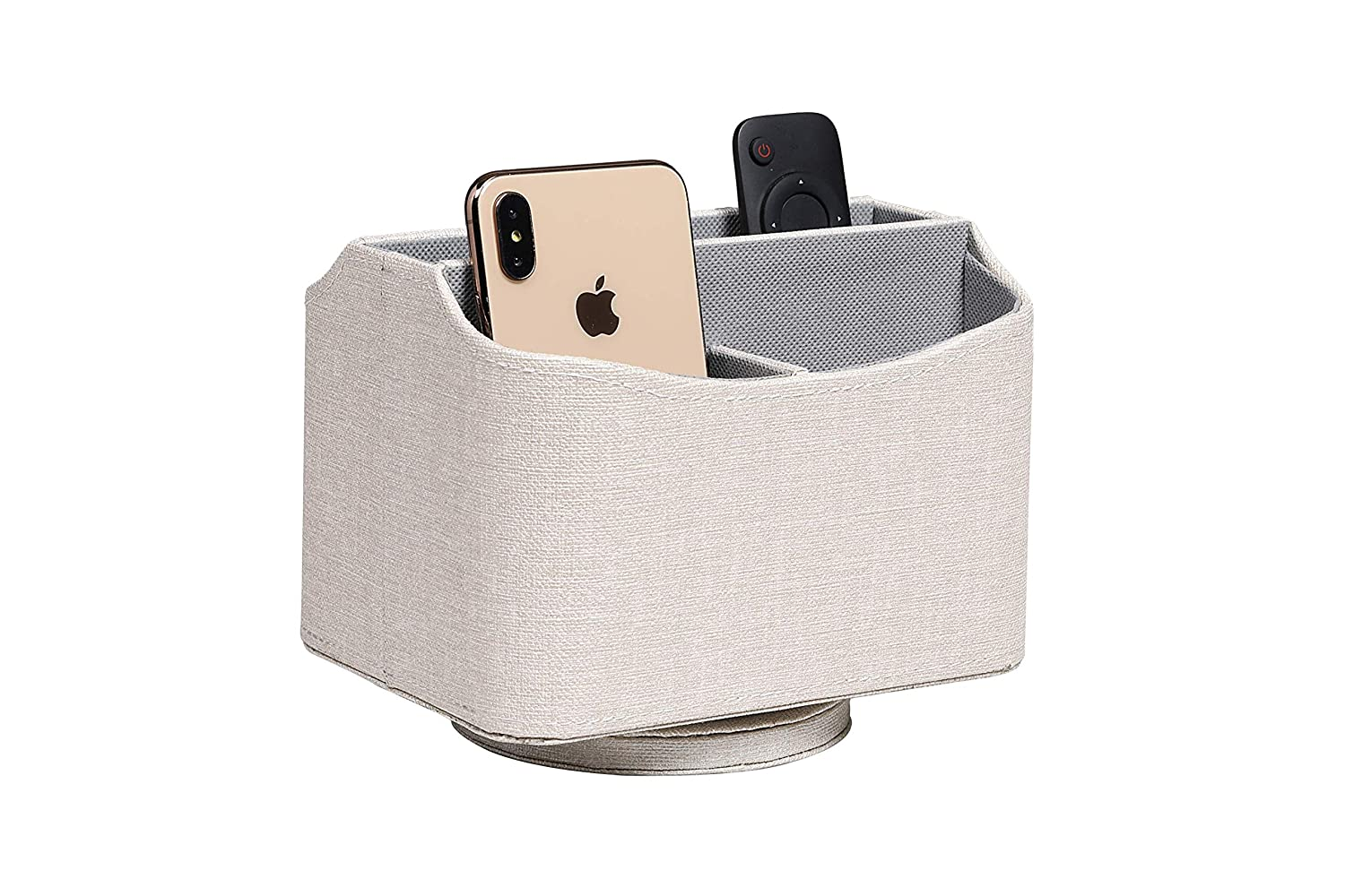 Fudostar PU Leather Linen Pattern Rotatable Organizer for Remote Controllers Magazines Spinning in 360 Degrees Desk Media Organizer for Home and Office Gray