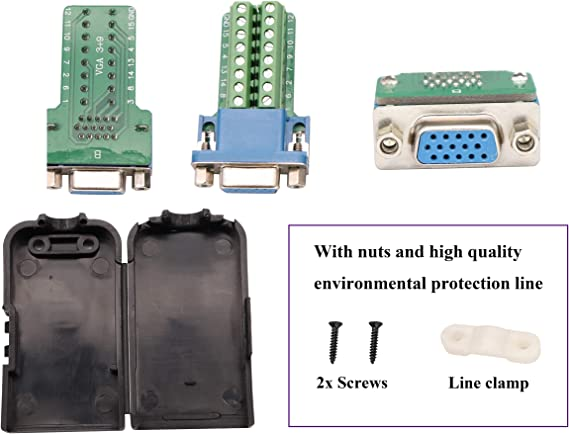 1 Pin//Way Female Serial Terminal Breakout Board Connector Signal Module with case 2Pcak//Female AAOTOKK DB9 Screw Terminal Block Adapter D-SUB 9-pin RS232 Female to 9