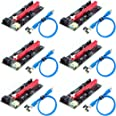 Ziyituod PCIe Riser Adapter Card,VER009S GPU Riser Express Kits 16X to 1X (Dual 6PIN / MOLEX) with Led Graphics Extension, Gp