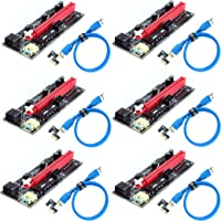 Ziyituod PCIe Riser, VER009S GPU Riser Express Kits 16X a 1X (Dual 6PIN / MOLEX) con extensión de gráficos LED, Gpu…