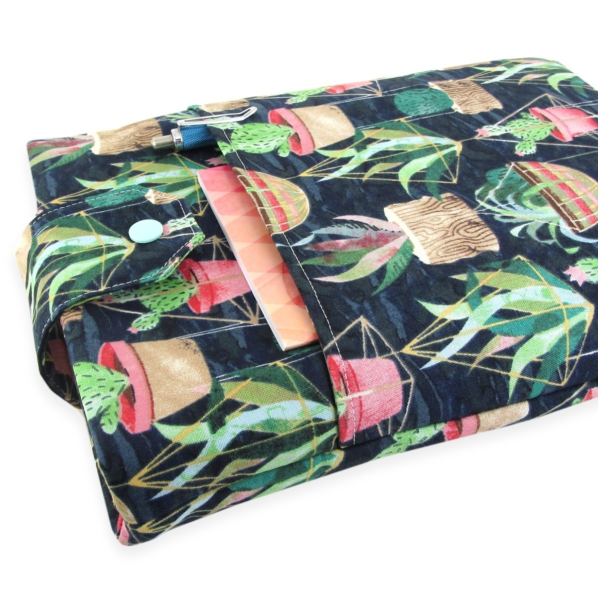 Handmade Cactus Succulent Fabric Book Sleeve - Padded - Perfect For Hardbacks Or Large Paperbacks by Five Sprouts Stitching