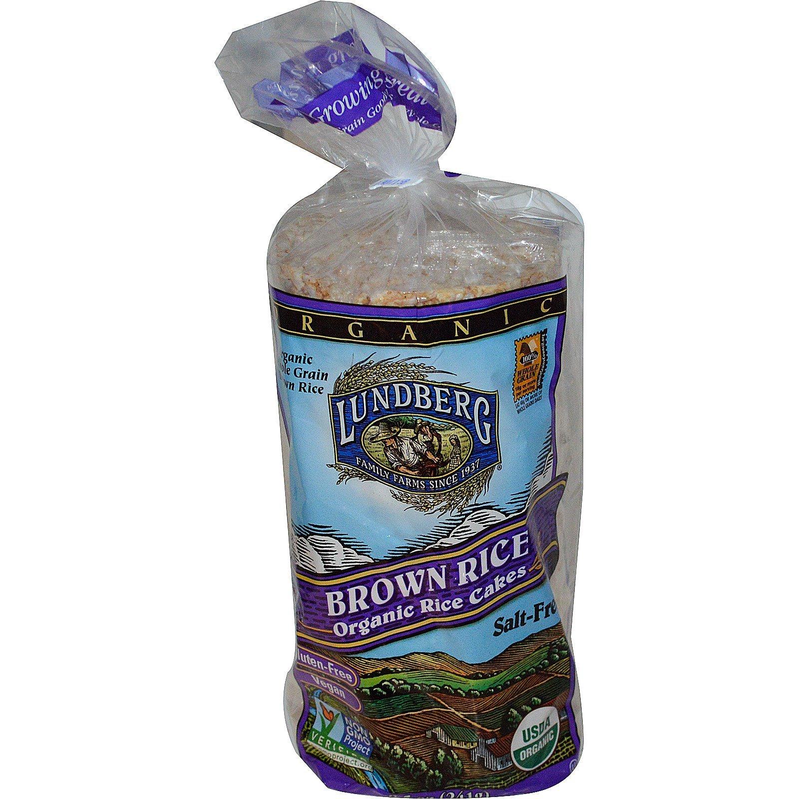 Lundberg, Brown Rice Organic Rice Cakes, Salt Free, 8.5 oz(Pack of 3)