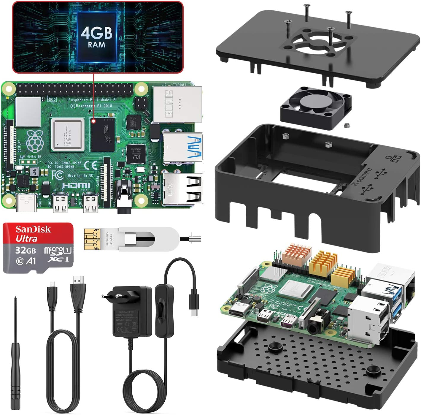TICTID Raspberry Pi 4 Modèle B (4 B) 4Go Upgraded for Raspberry Pi 3 Starter Kit 2019 Version 32Go Classe...