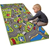 """Large Kids Carpet Playmat Rug 32"""" x 52"""" with Non-Slip Backing, City Life Play Mat for Playing with Car Toy, Game Area…"""