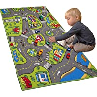 "Large Kids Carpet Playmat Rug 32"" x 52"" with Non-Slip Backing, City Life Play Mat for Playing with Car Toy, Game Area for Baby Toddler Kid Child Educational Learn Road Traffic in Bedroom, Classroom"