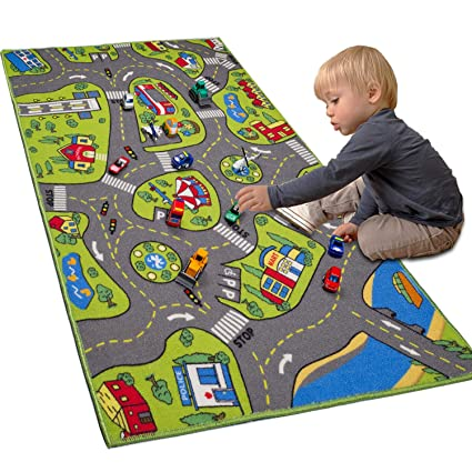 Kids Red Racing Car Boy Mat Rug Little Boy Fun Nursery Bedroom Play Room Rugs