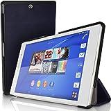 igadgitz Premium Bleu PU Cuir Smart Cover Etui Housse Case pour Sony Xperia Z3 Tablet Compact SGP611 avec Support Multi-Angles + Mise en Veille / Réveil + Film de Protection