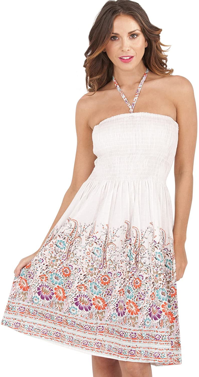 Ladies 100% Cotton Daisy Print 3 in 1 Bandeau/Halter Summer Dress/Maxi Skirt, White/Pink Medium Dannii Matthews d754