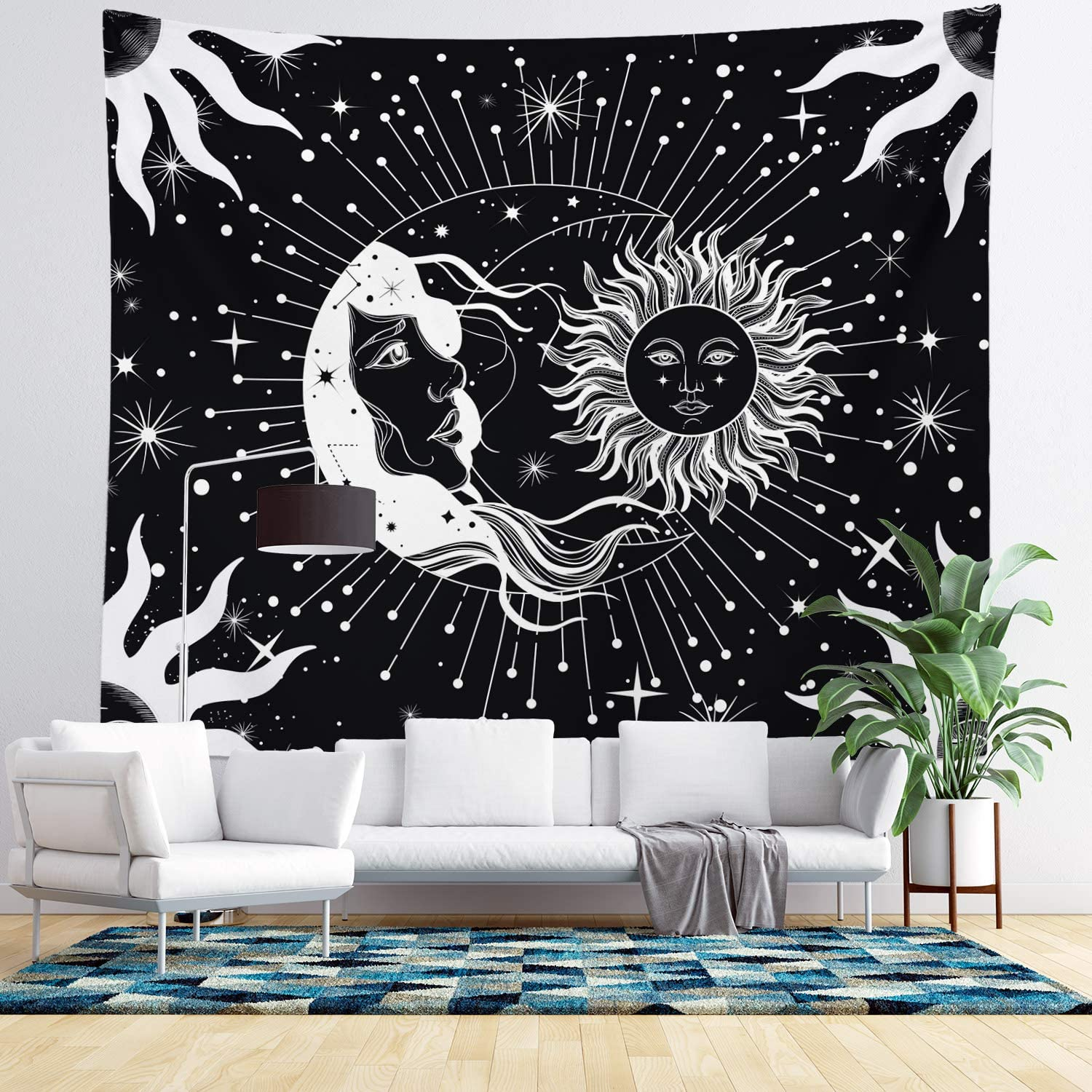Moon and Sun Wall Hanging Tapestry - Black and White Wall Tapestry - Nature, Girl, Starry Sky & Constellation - Celestial Living Room Decor & Home Wall Art - Large Tapestries for Bedroom & Dorm Room