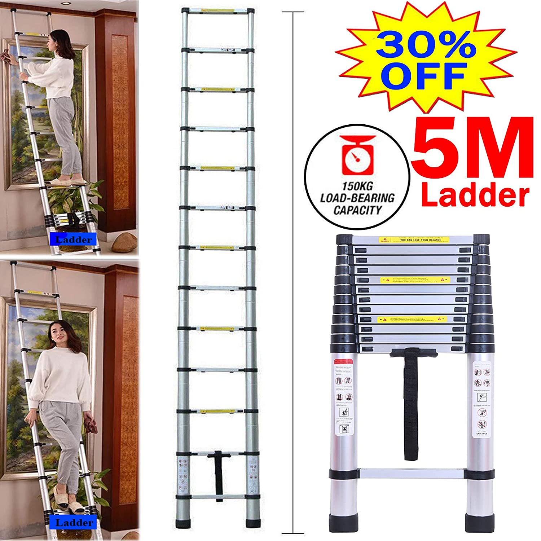 330 pound//150 kg Loading Easy Portability for Home DIY Aluminum Telescopic Extension Tall Multi Purpose Loft Folding Ligtweight Ladder 12.5Ft 5M Telescoping Ladder