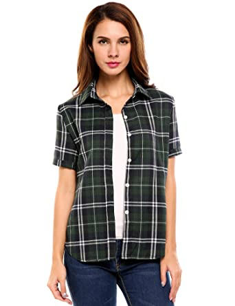 116d401d Zeagoo Women Short Sleeve Green Plaid Shirts Summer Button Down Loose Blouse  (Green S)