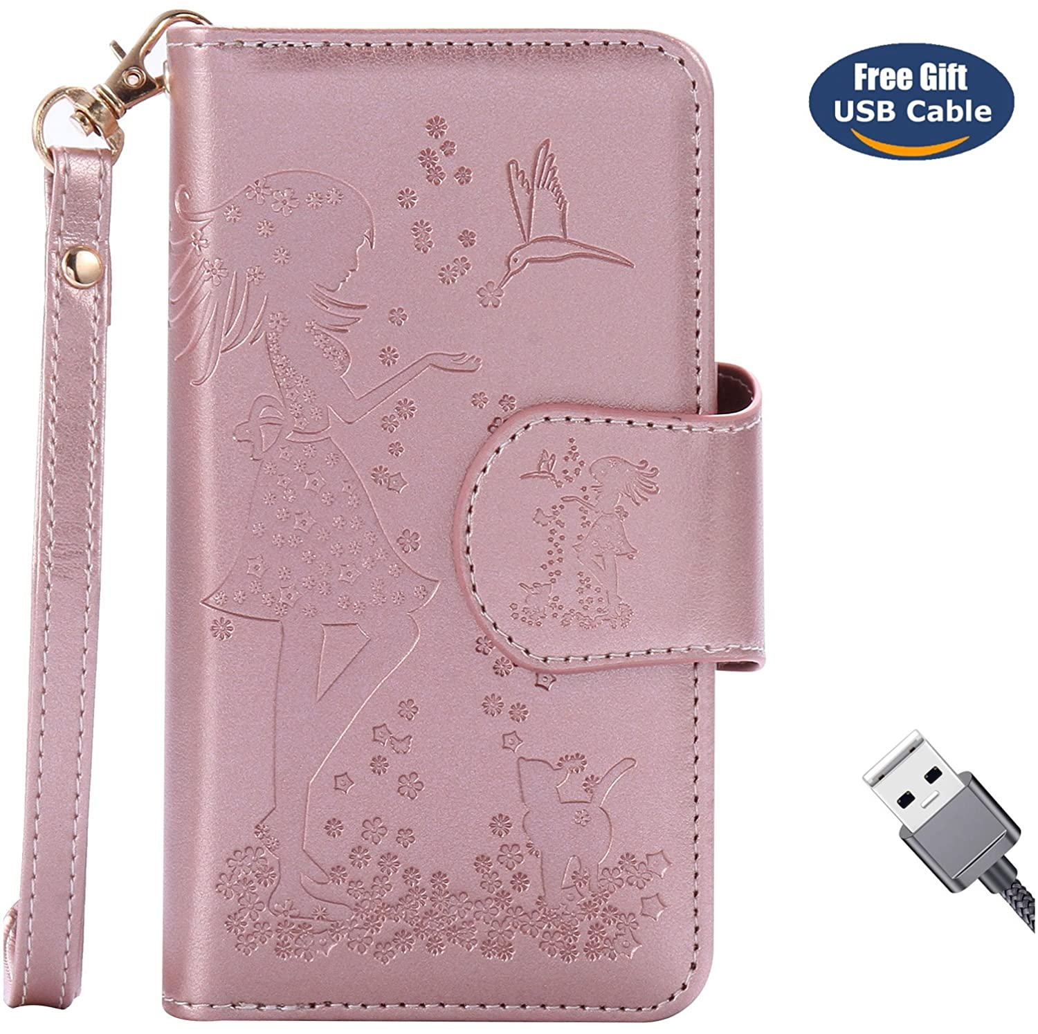 Galaxy A3 2016 case, Galaxy A3 2016 cover, Aireratze Premium Soft PU Leather Cute Cat Girl Pattern [10 Card Slots Handbag Walllet Purse Large Capacity Easy-detach Case 360 Full Protection] Case with [Kickstand] 10 Card Holder and ID Slot Key Holder Cash Ho