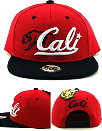 Black and Red Cali Bear Snapback Hat