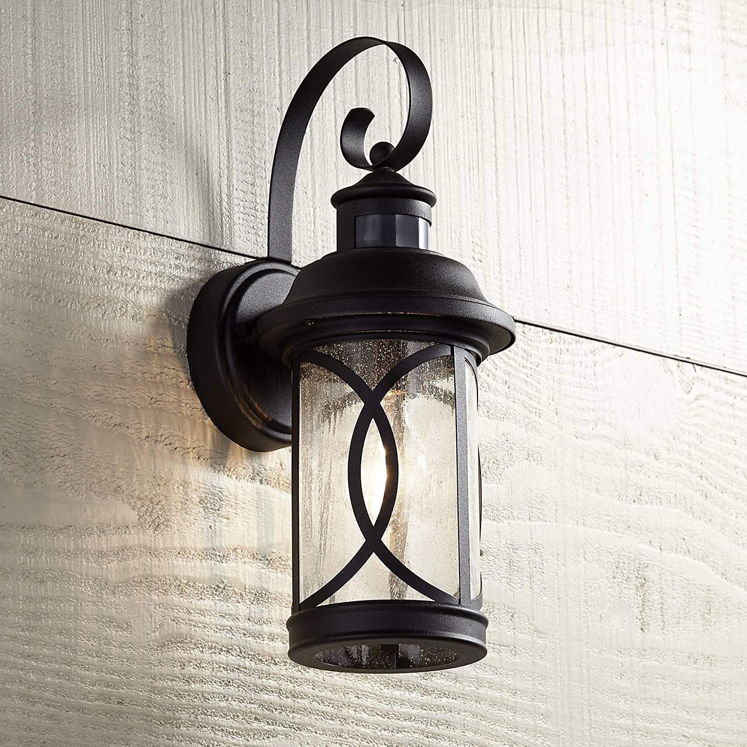 Capistrano Mission Outdoor Wall Light Fixture Led Black Hanging 12 75 Motion Security Sensor Dusk To Dawn Exterior House Porch Patio Outside Deck Garage Yard Front Door Home John Timberland Amazon Com