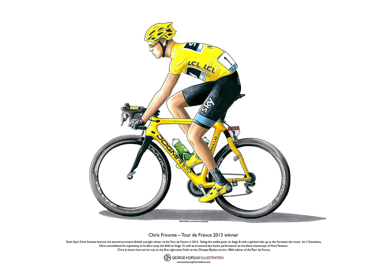 Art Cartel de Chris Froome - Tour de France 2013 ganador, tamaño A3 George Morgan Illustration