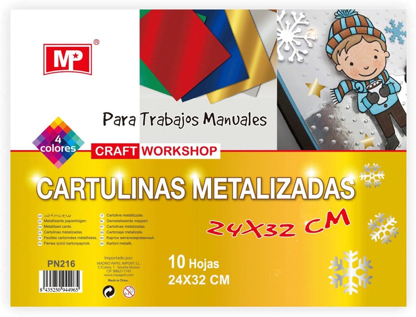 MP PN216 - Pack de 4 cartulinas metalizadas: Amazon.es: Oficina y papelería