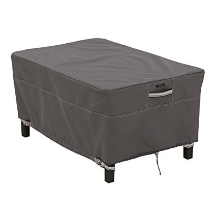 Classic Accessories Ravenna Rectangular Patio Ottoman/Table Cover - Premium Outdoor Furniture Cover with Durable and Water Resistant Fabric, Large (55-167-045101-EC)
