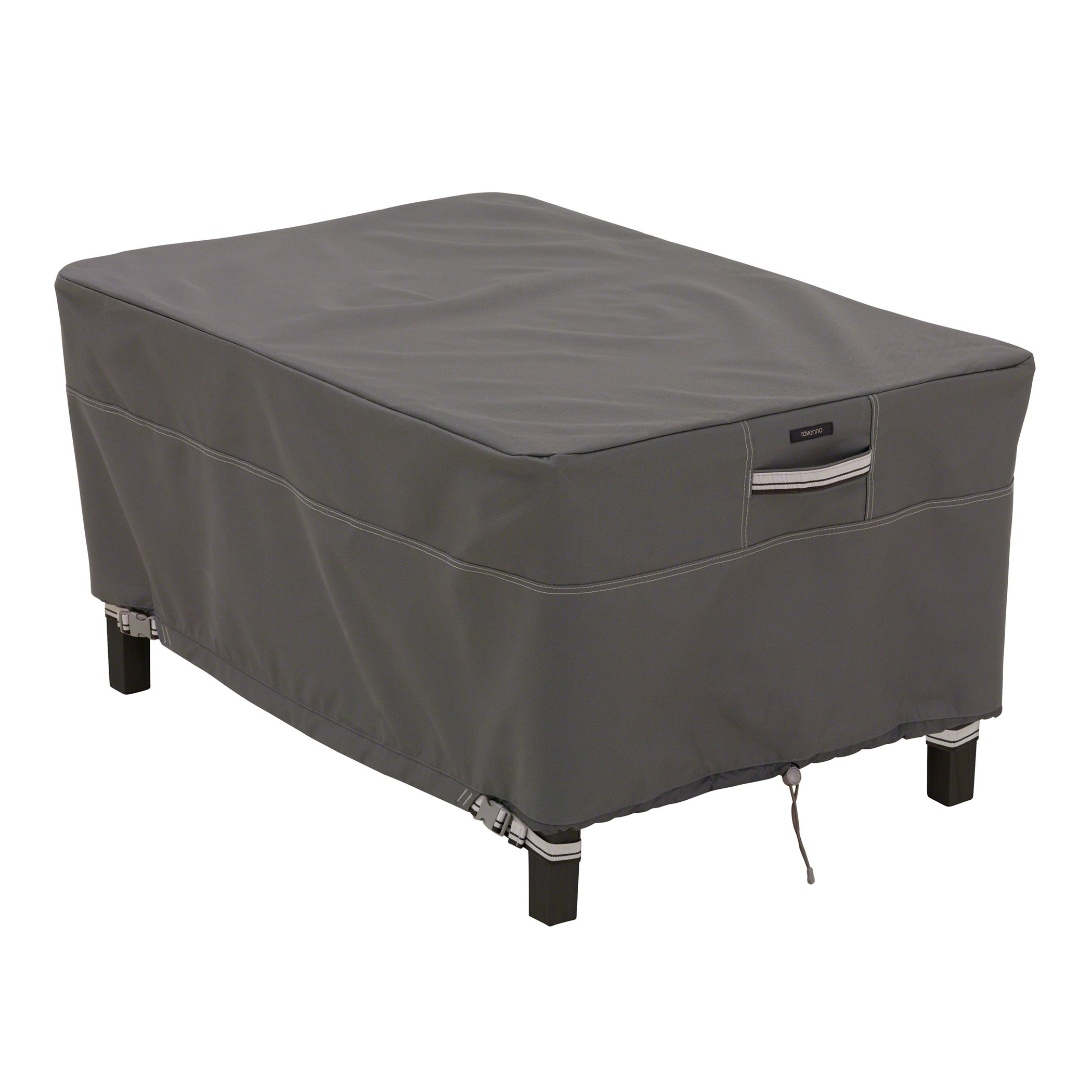 Classic Accessories Ravenna Rectangular Patio Ottoman/Table Cover - Premium Outdoor Furniture Cover with Durable and Water Resistant Fabric, Small (55-166-025101-EC)