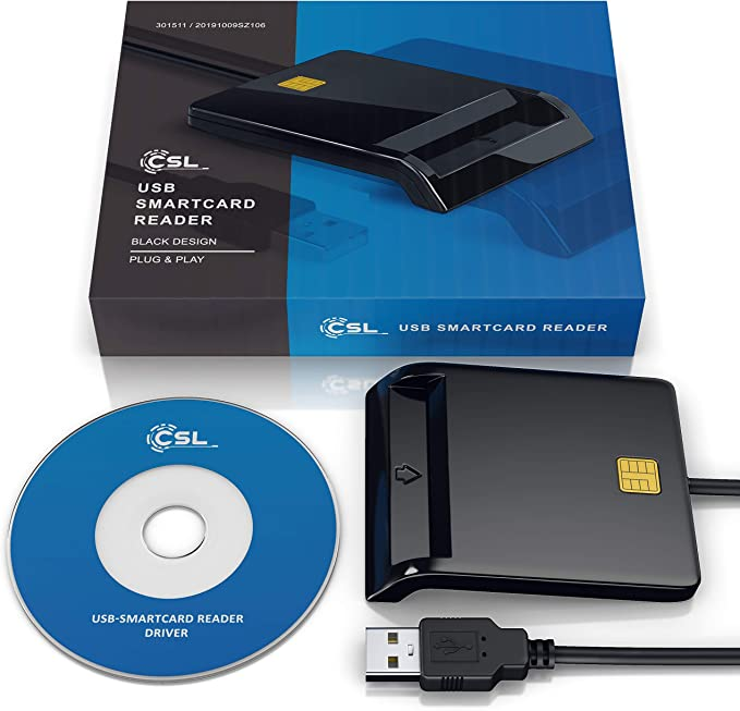 Csl Usb Chip Smart Card Reader Plug Play Power Computers Accessories
