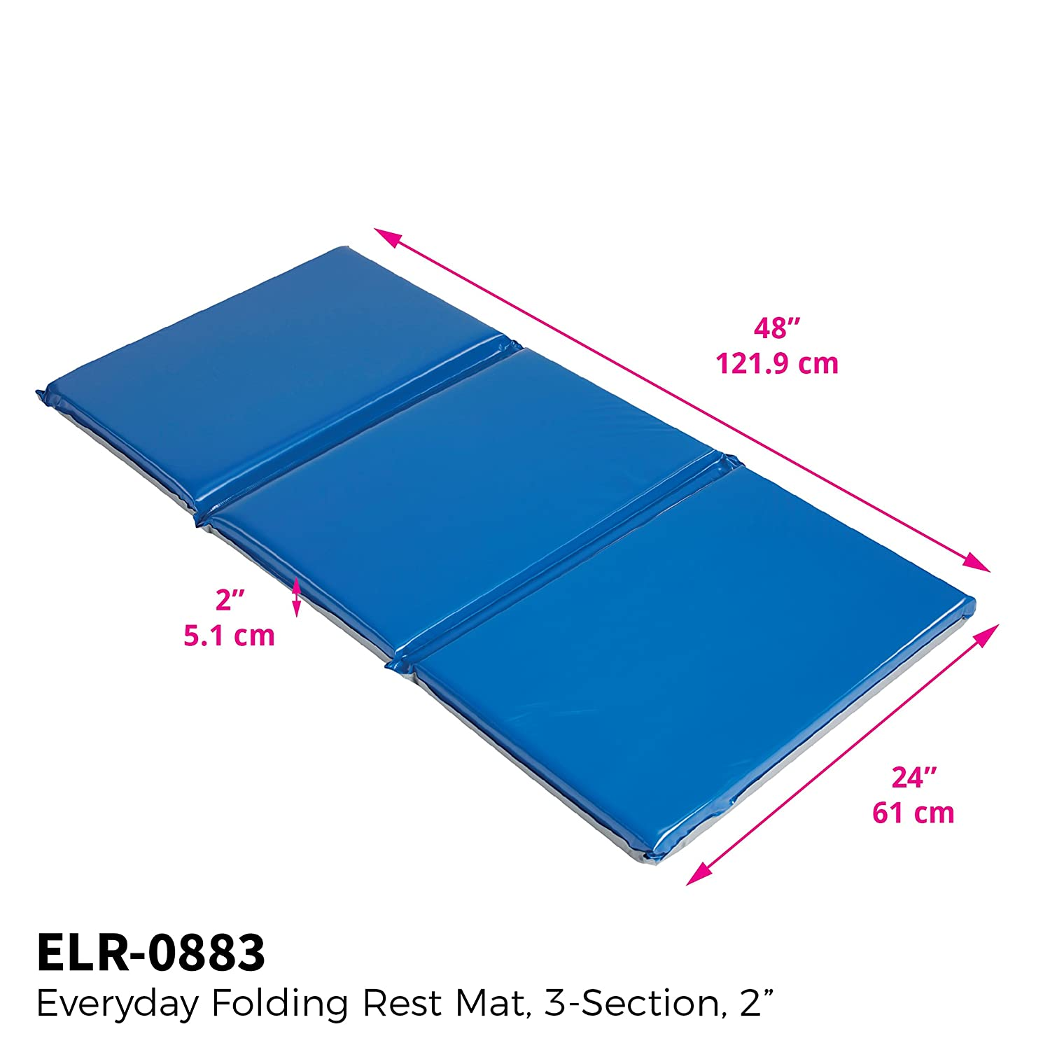 ECR4Kids Everyday 3-Fold Daycare Rest Mat, Blue and Grey 2 Thick
