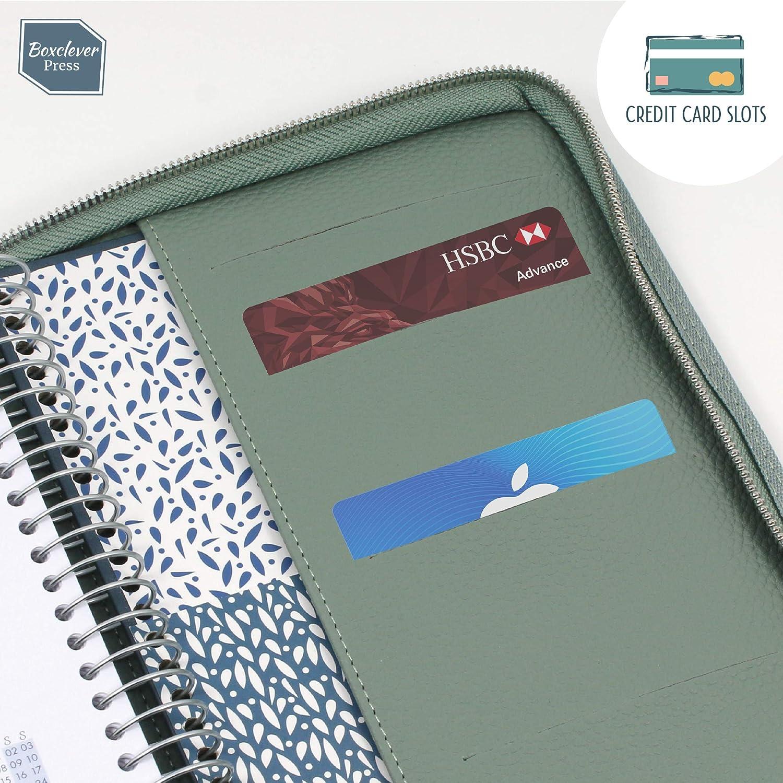agenda 2020 2021 o journal. Tasche extra per i documenti Ideale per planner settimanale Porta agenda Luxury Boxclever Press in ecopelle testurizzata di alta qualit/à con zip Grigio blu