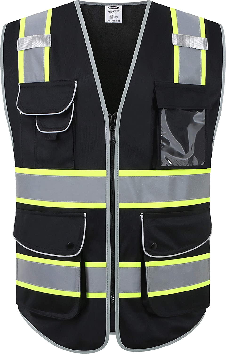 JKSafety 9 Pockets High Visibility Zipper Front Safety Vest Black with Dual Tone High Reflective Strips Meets ANSI/ISEA Standards (Black Yellow Strips, Medium)