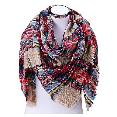 453866d711f5 Romanstii, couverture chaude en tissu écossais, épaisse écharpe en Infinity  pour l hiver, grand tartan enveloppant et volumineux, châle faisant office  de ...