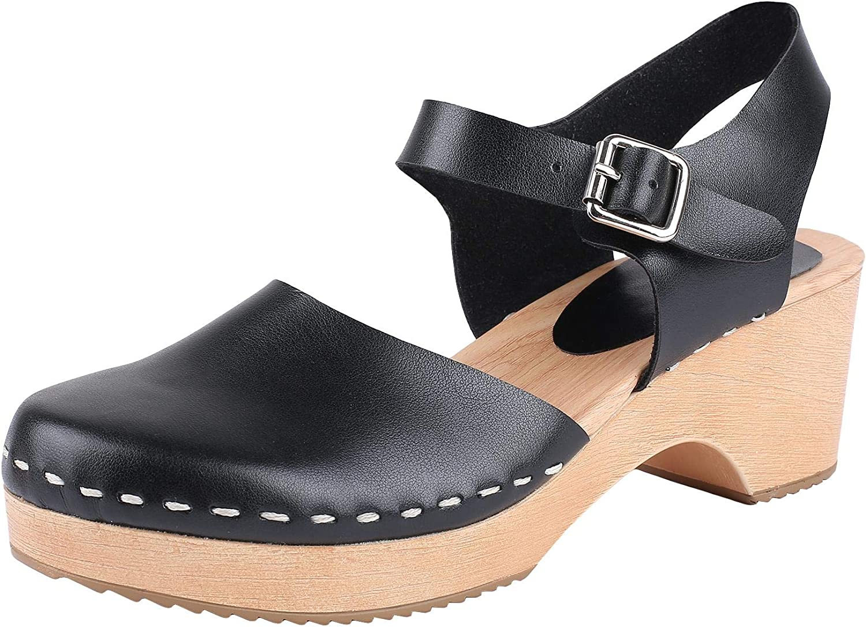 Ruanyu Womens Closed Toe Wooden Clogs Sandals Ankle Strap Platform Classic Slingback Heeled Sandals Black