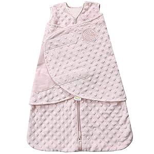 Halo Plush Dot Velboa Sleepsack Swaddle Wearable Blanket, Pink, Newborn