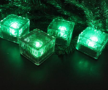 Small Solar Powered 4LED Glass Ice Cube Brick Outdoor Garden Patio Path Lighting