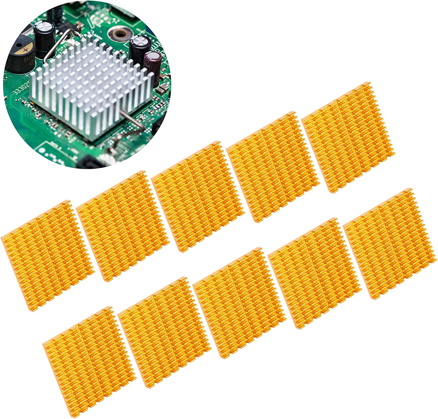 Golden Transistors Radiator Aluminum Cooling Fin Modules for Routers CPUs PUSOKEI 20pcs 37x4x37mm Heat Sink Amplifiers Power Supplies Power Boards