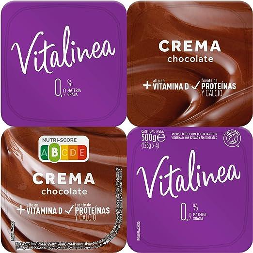 Vitalinea Crema de Chocolate Negro, 4 x 125g
