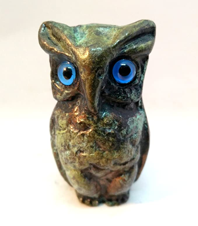 ANCIENT GREEK BRONZE REPLICA OWL GREEN-GOLD OXIDIZATION 526