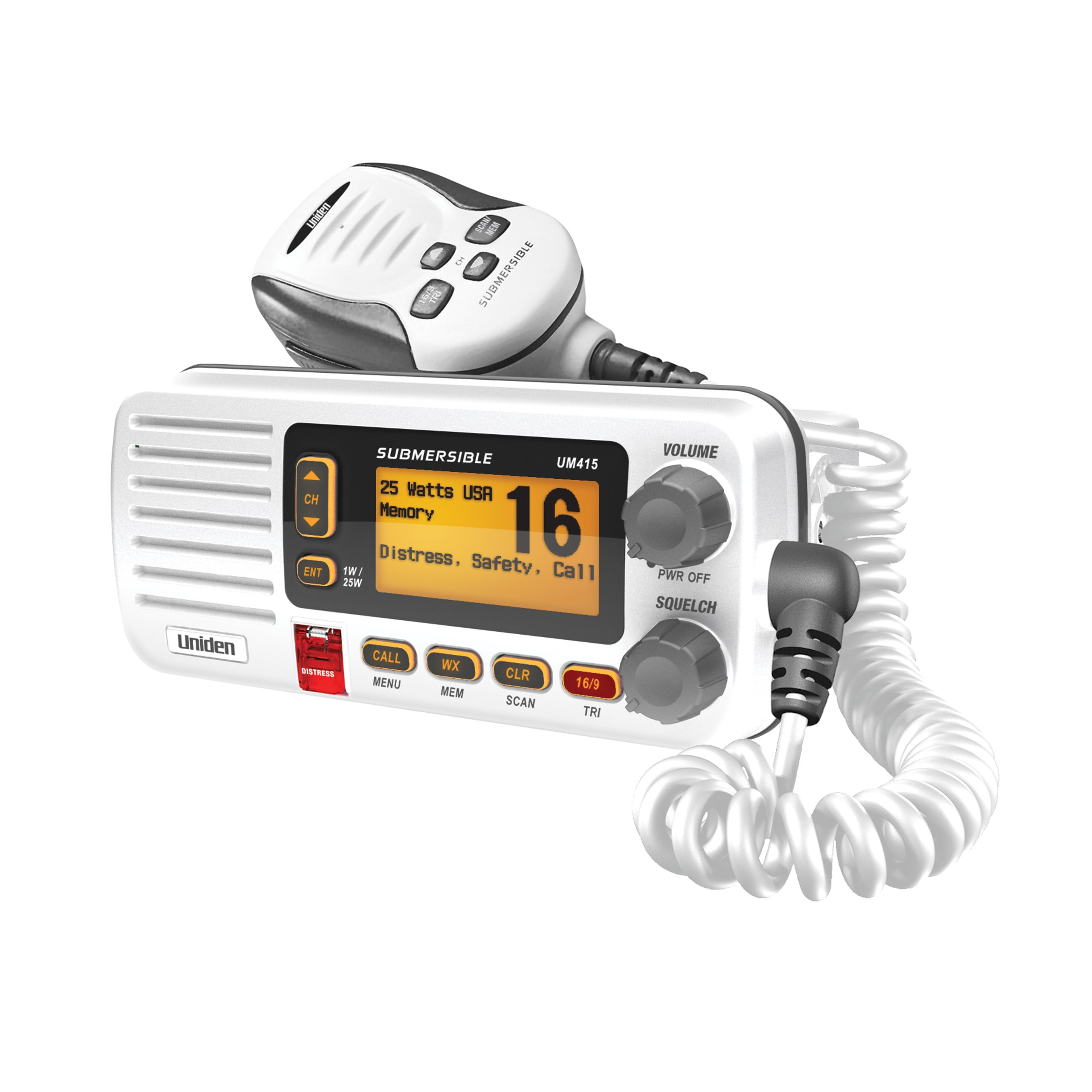Uniden UM415 Advanced Fixed Mount VHF Marine Radio DSC (Digital Selective Calling). All USA/International/Canadian Marine Channels. 1 Watt/25 Watt Transmit Power. Ultra Compact Rugged Construction and JIS7 Submersible - White Color